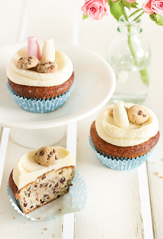 Milk & Chocolate Chip Cookie Cupcakes