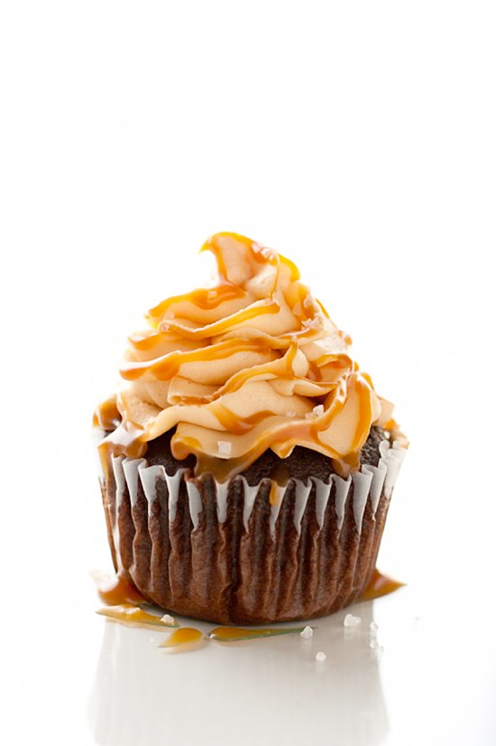Chocolate Cupcakes with Salted Caramel Frosting