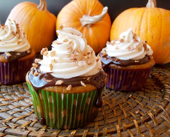 Pumpkin Cupcakes with Chocolate Ganache & Spiced Cream Cheese Frosting