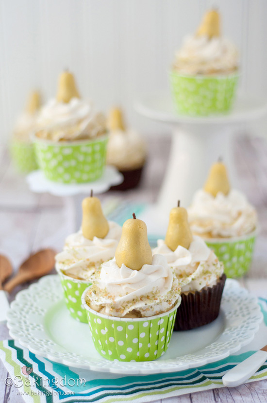 Hazelnut-Pear Cupcakes with Hazelnut-filled Marzipan Pear Toppers, Cupcake Recipes, The Cupcake Daily Blog