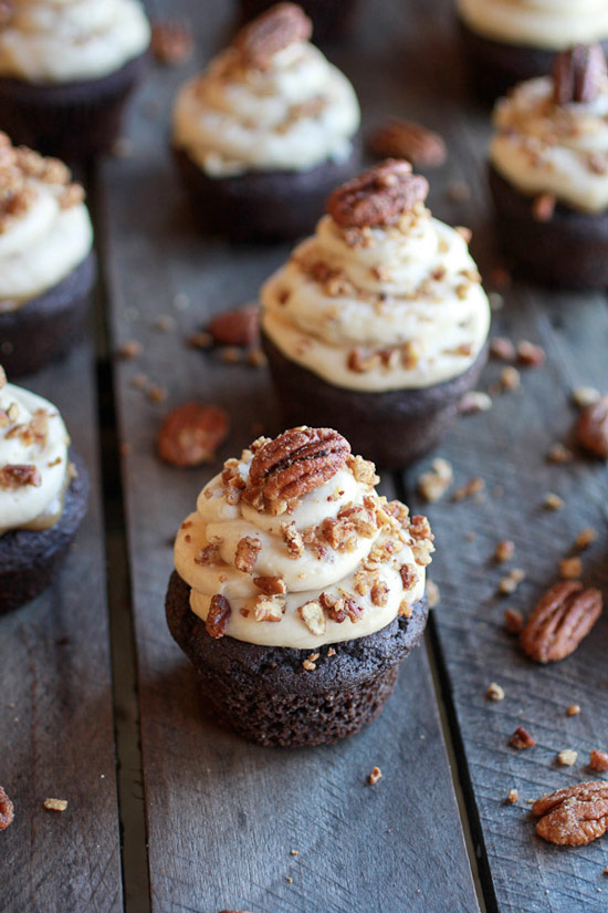 Chocolate Bourbon Pecan Pie Cupcakes Recipe