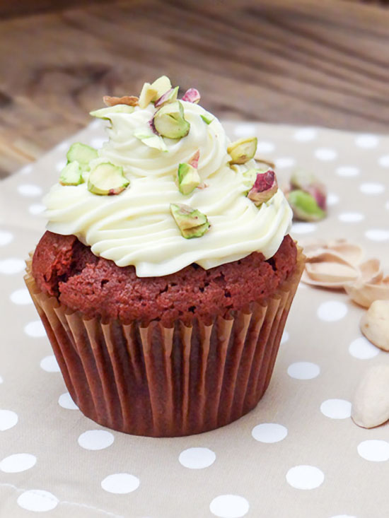 Red Velvet Cupcakes with Cream Cheese Frosting and Salted Pistachio
