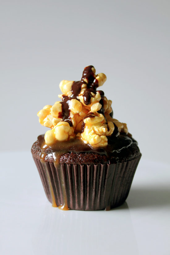 Guinness Cupcake with Chocolate Ganache and Salted Caramel Popcorn