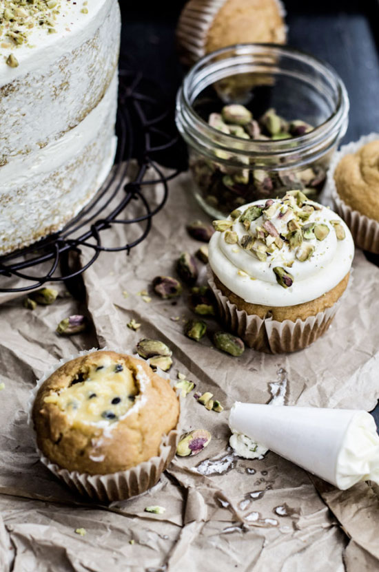 coconut, cupcake, flavour oil, lemon, naked cake, nuts, party, pineapple butter, pineapple curd, pistachio, semolina, syrup, buttercream, recipe, baking