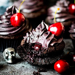 Halloween Black Cupcakes with Cherry Filling