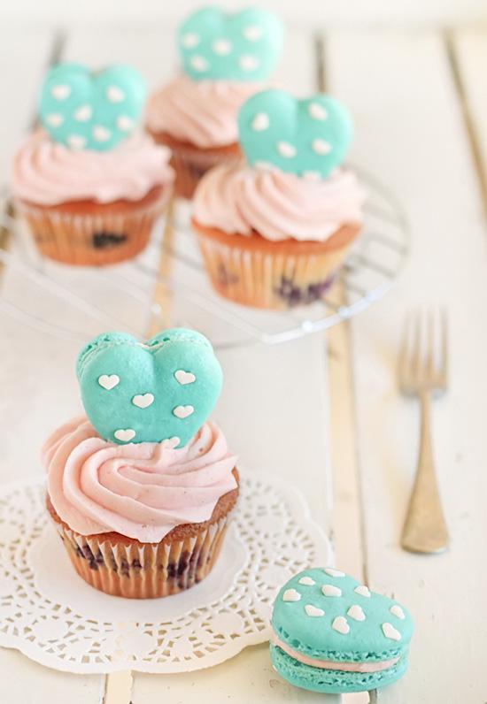 Heart Polka Dot Macaroons & Vanilla Bean Blueberry Cupcakes