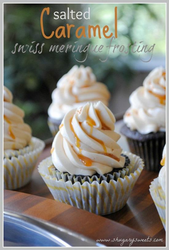 Salted Caramel Swiss Meringue Frosting Cupcakes
