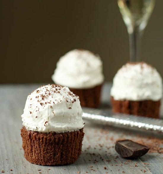 Chocolate Ganache Cupcakes with Italian Meringue Buttercream Frosting
