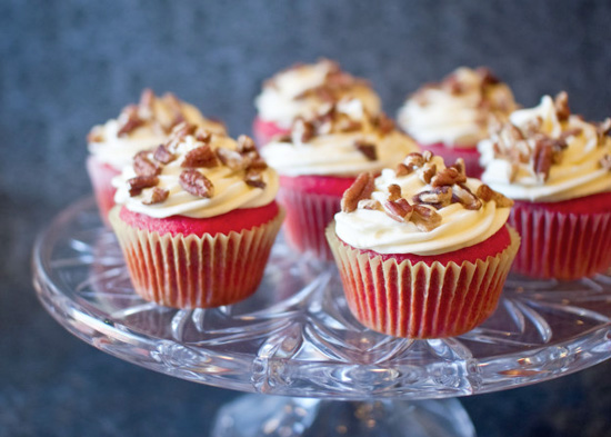 Red Velvet Cupcakes with Bourbon Cream Cheese Frosting