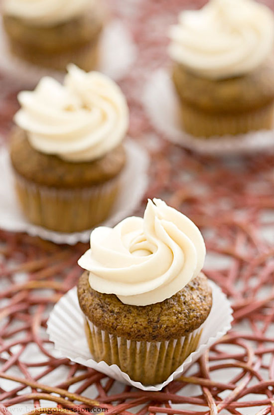 Chocolate and Honey Banana Mini-Cupcakes with Luscious Honey Cream Cheese Frosting