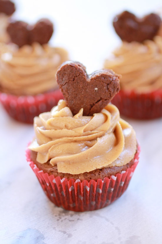 Valentine Fudge Brownie Cupcakes with Peanut Butter Frosting