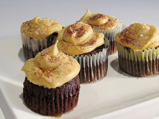 Coca Cola Cupcakes with Salted Peanut Butter Frosting