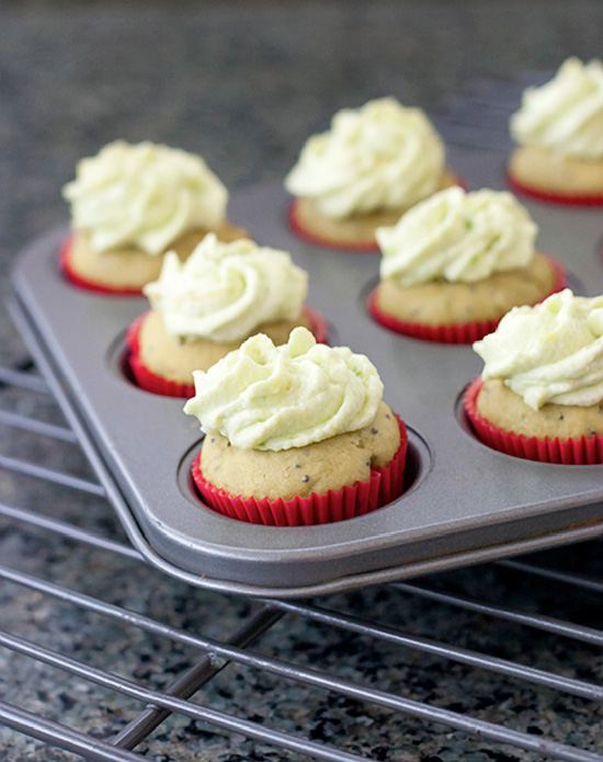Avocado Poppy Seed Mini Cupcakes