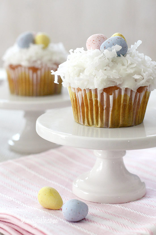 Skinny Coconut Cupcakes with Chocolate Eggs