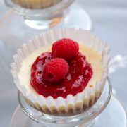 Mini Cheesecake Cupcakes with Raspberry Topping