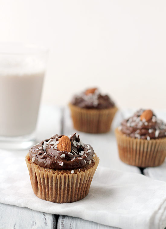 Grain-Free Almond Cupcakes with Chocolate Avocado Frosting