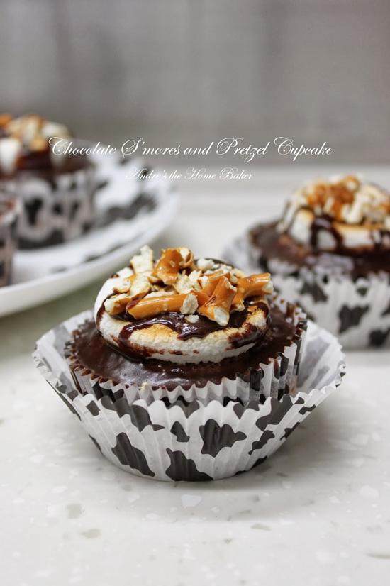 Chocolate S'mores and Ptretzel Cupcakes Recipe