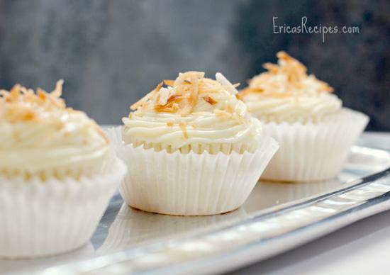 Pineapple-Coconut Cupcakes, Honey Cream Cheese Frosting, cupcake, recipe, baking