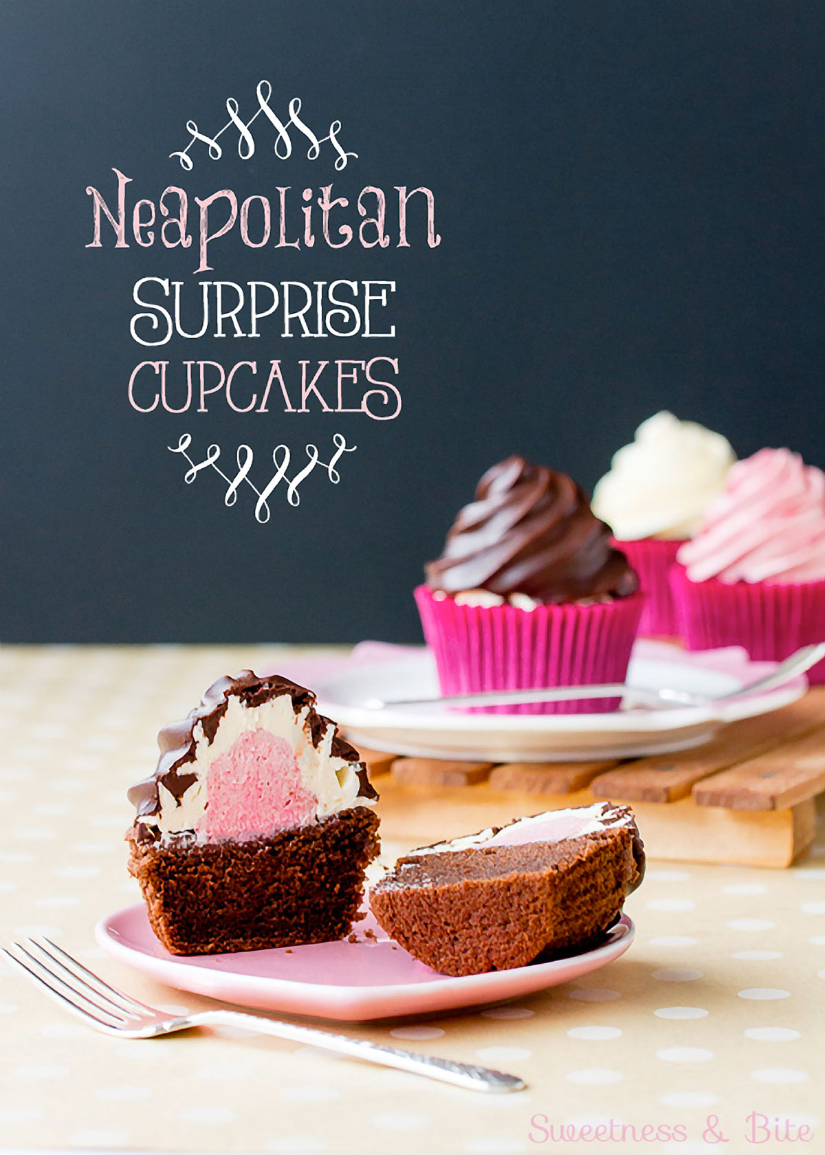 Neapolitan Surprise Cupcakes