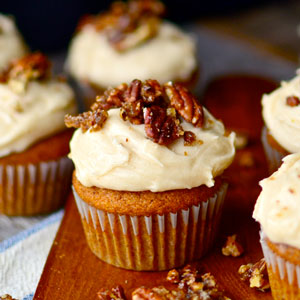 Pumpkin Cupcakes with Browned Butter Cream Cheese Frosting and Sugared Pecans