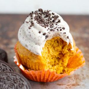 Pumpkin Oreo Cupcakes, cream cheese frosting, recipe, cupcakes, baking