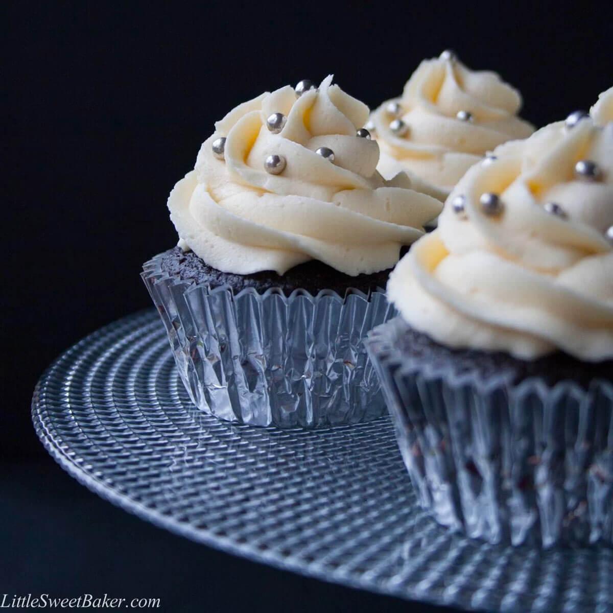 Dark Chocolate Cupcake Recipe with White Chocolate Buttercream Frosting