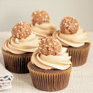 chocolate, cupcakes, recipe, dessert, baking, nutella, buttercream, ferrero, rocher, candies