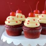 red velvet, cupcakes, recipe, baking, dessert, food, easy, heart sprinkles, cream cheese, frosting, maraschino, cherries