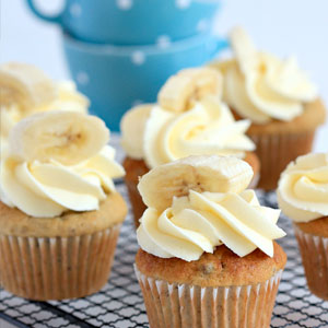banana cupcake, fabulous, recipe, cream cheese, frosting, baking