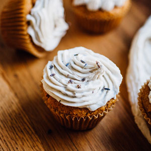 Gluten Free Dairy Free Vanilla Bean Lavender Cupcakes