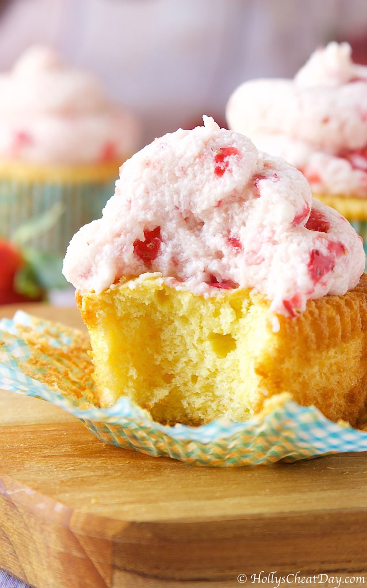 Very Vanilla Cupcakes with Whipped Strawberry Frosting
