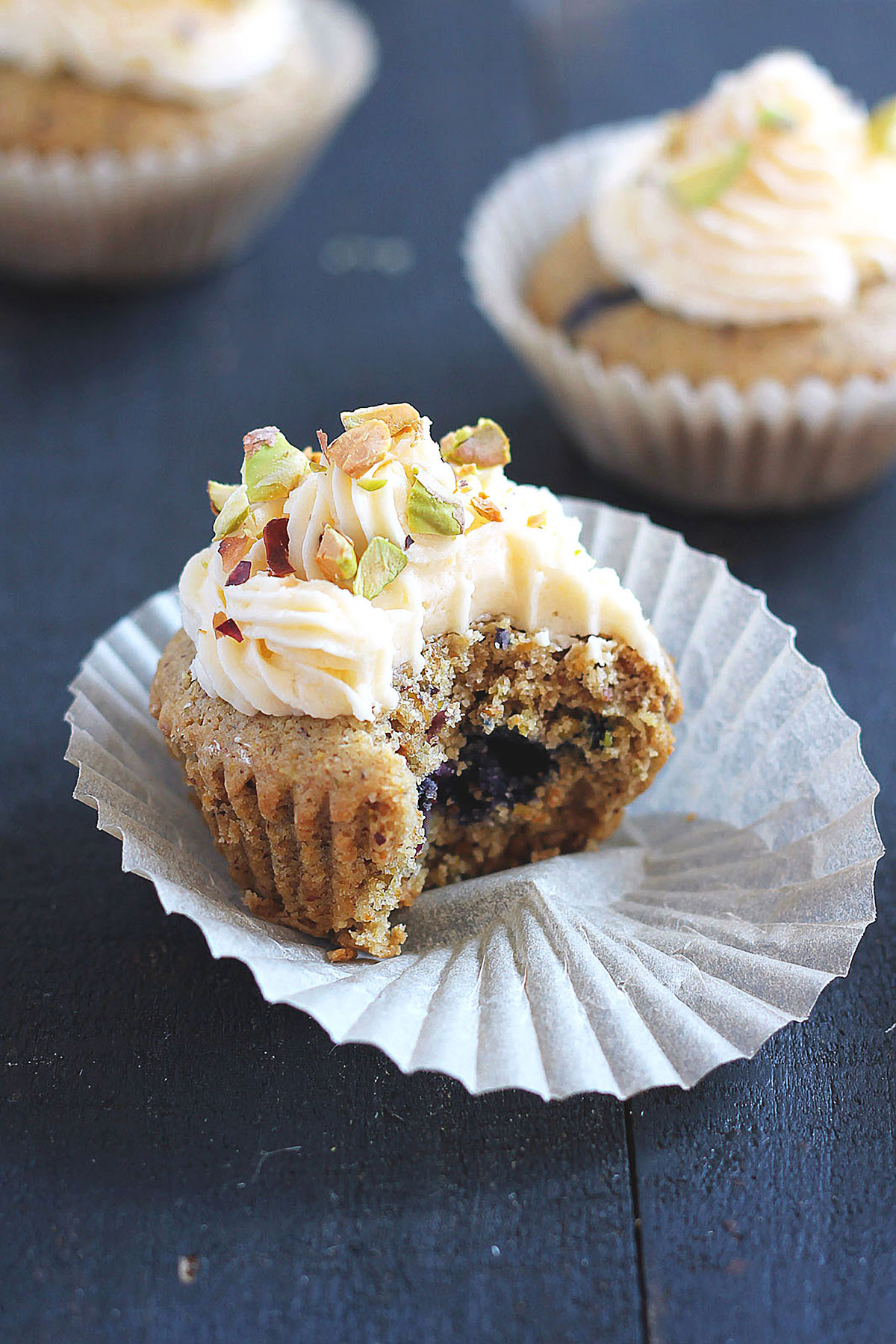 Lemon Blueberry Pistachio Cupcakes