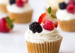 Berry Filled Vanilla Cupcakes With Lemon Cream