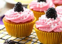 Blackberry Piña Colada Cupcakes