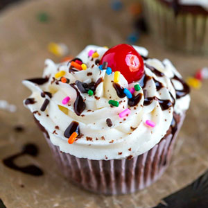 Hot Fudge Sundae Cupcake
