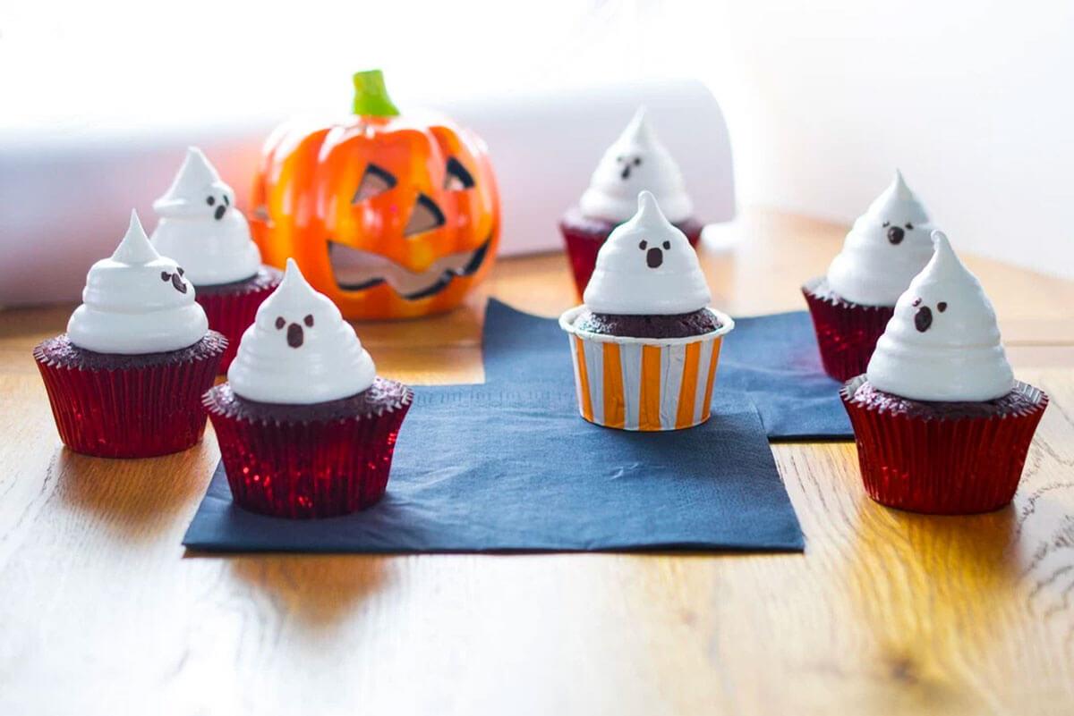 Red Velvet Boo Cupcakes