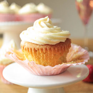 Strawberry and Vanilla Cupcakes with Prosecco Frosting