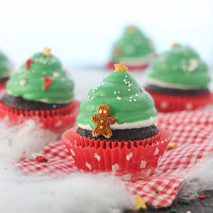 Christmas Tree Hi Hat Cupcakes