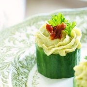 Avocado and Goat Cheese Cucumber Cupcakes