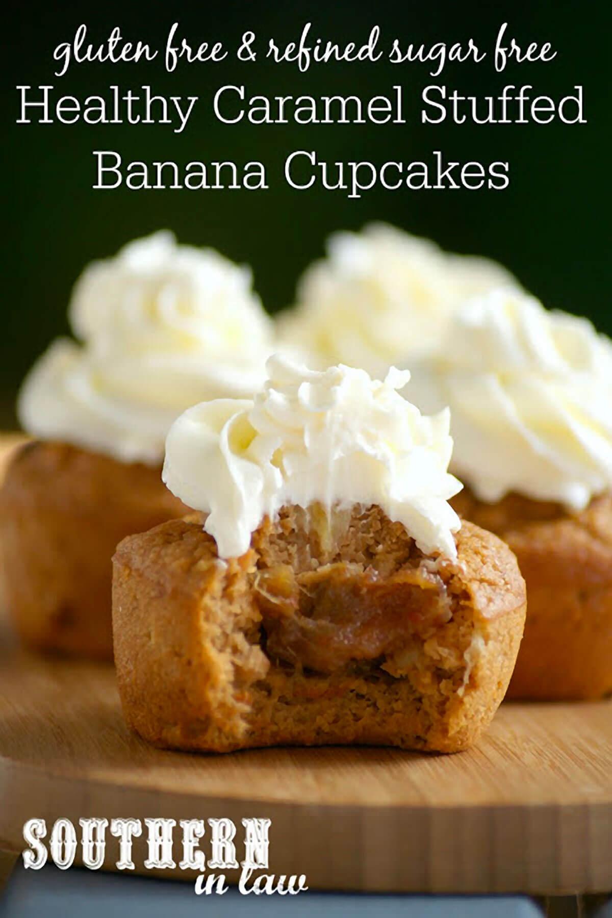 Caramel Stuffed Banana Cupcakes