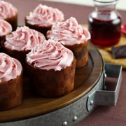 Pomegranate Chocolate Swirl Cupcakes