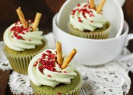 Matcha Green Tea and Raspberry Cupcakes