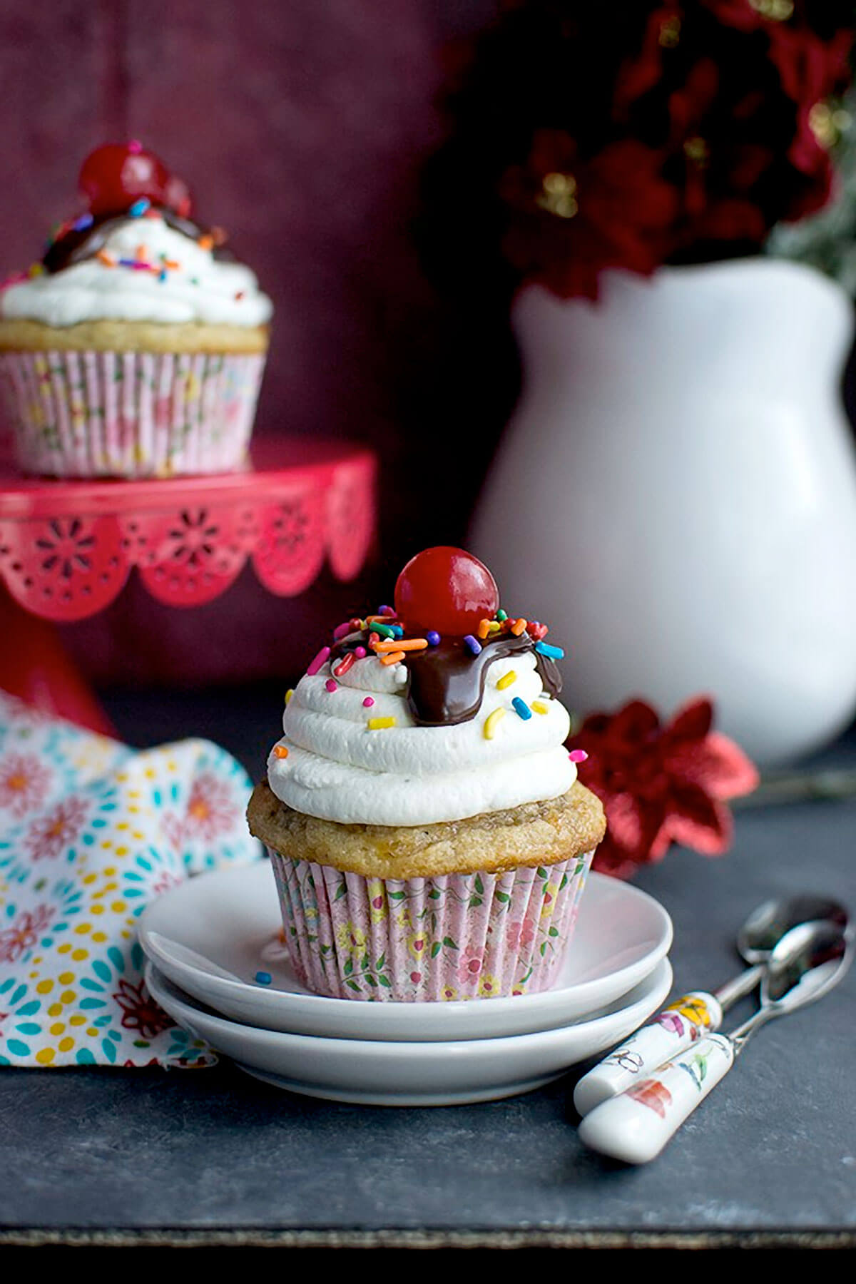 Vegan Banana Split Cupcakes