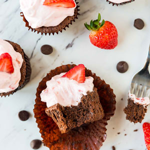 Chocolate Mousse Cupcakes with Whipped Strawberry Cream Cheese Frosting