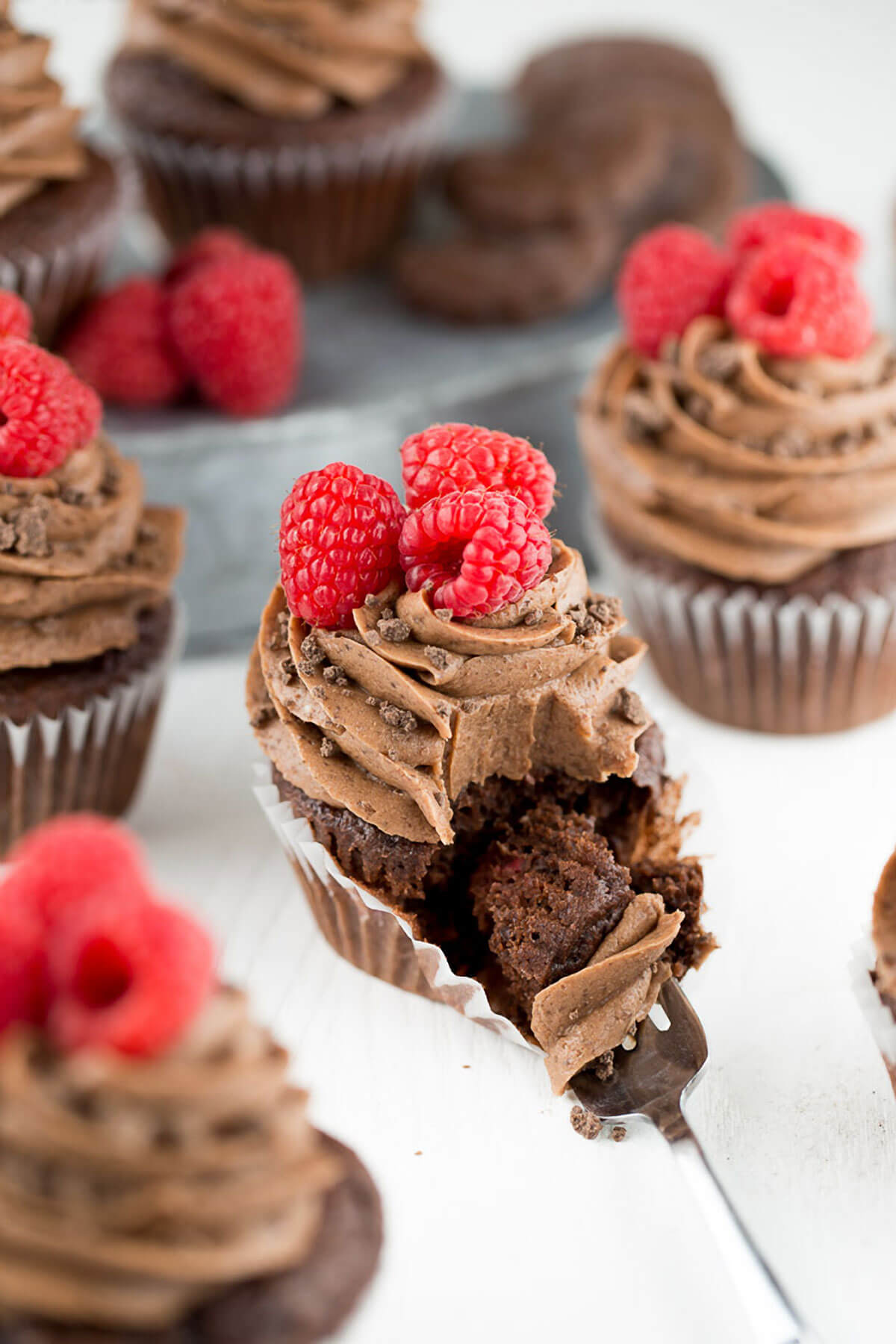 Raspberry Thin Mint Cupcakes
