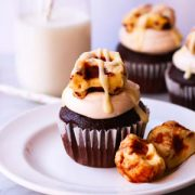 Salted Caramel Cupcakes with Waffled Cinnamon Roll Pieces