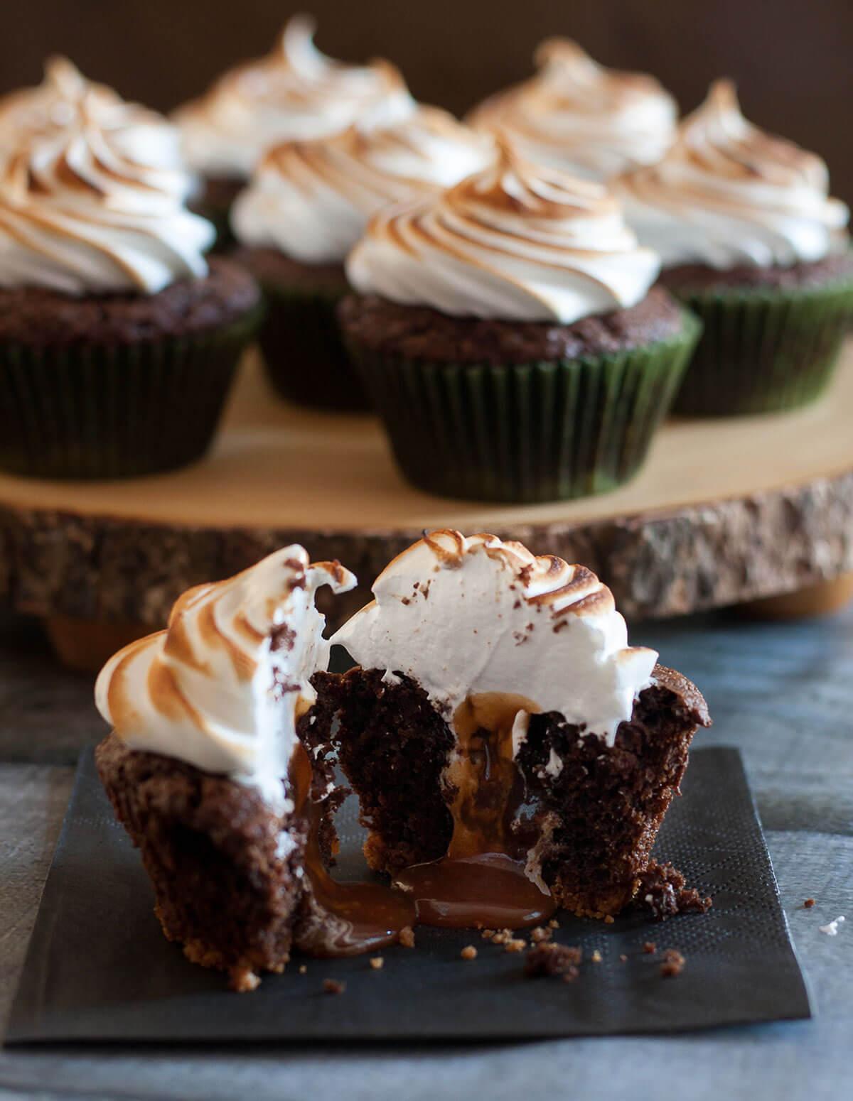 Caramel Stuffed S'mores Cupcakes