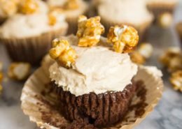 Chocolate Caramel Corn Cupcakes
