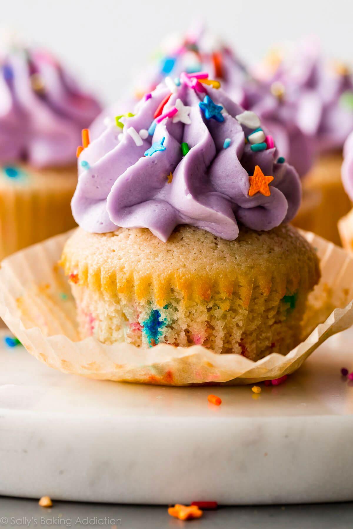 Soft & Fluffy Funfetti Cupcakes