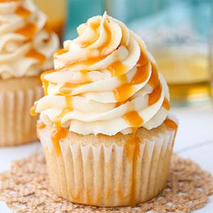 Caramel Bourbon Vanilla Cupcakes